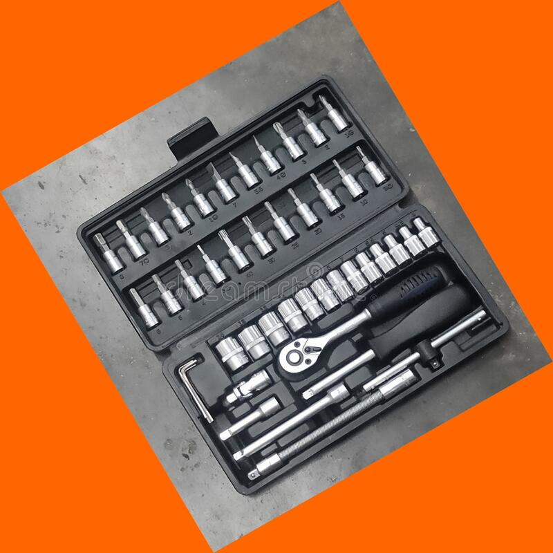 Perfect tool kit. chrome plating socket wrench or spanner in compact case. pro set of tools. Torx tool Socket Drive. Perfect tool kit. chrome plating socket stock photography