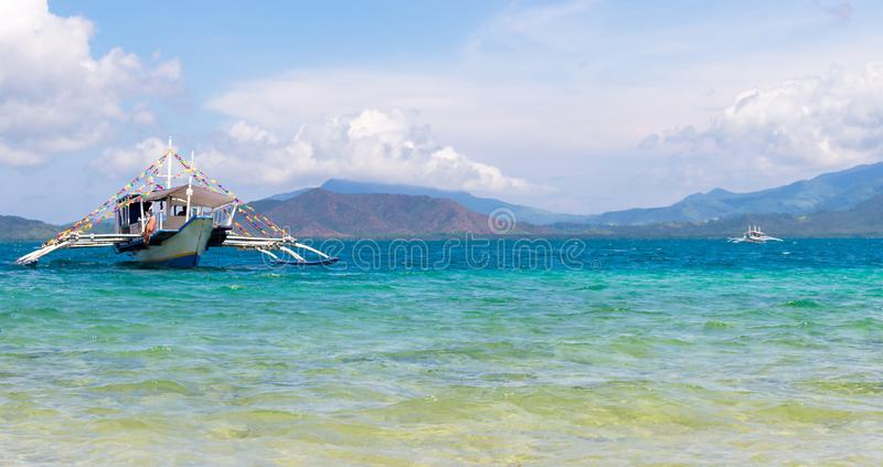 Traditional banca boat on Philippines royalty free stock image