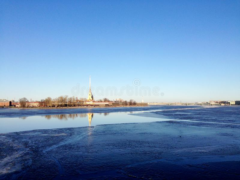 Neva and Peter and Paul Fortress royalty free stock image