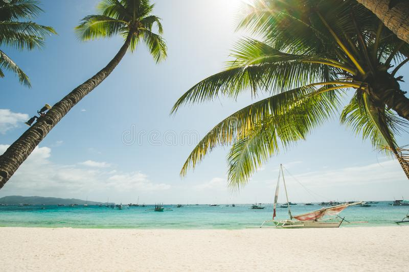 Perfect white sand beach in Boracay, Philippines stock photography