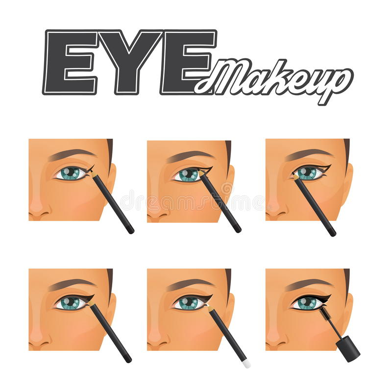 Perfect winged eyeliner make-up tutorial stock illustration
