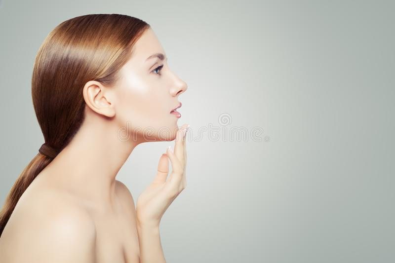 Perfect woman. Beautiful female profile on white background. Skincare and cosmetology concept royalty free stock photos