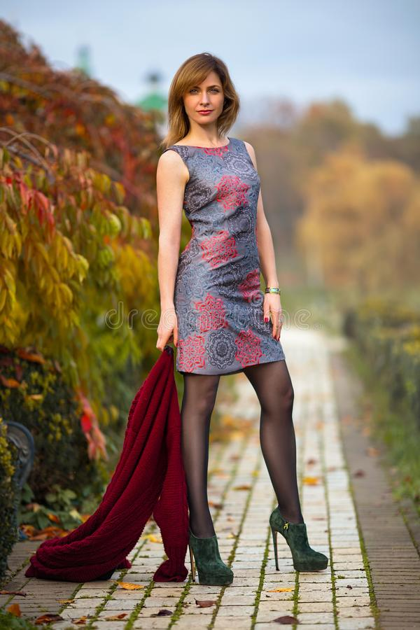 Woman posing in the autumn park. Perfect woman in the dress and high heels posing in the autumn park. Beauty makeup portrait stock photography