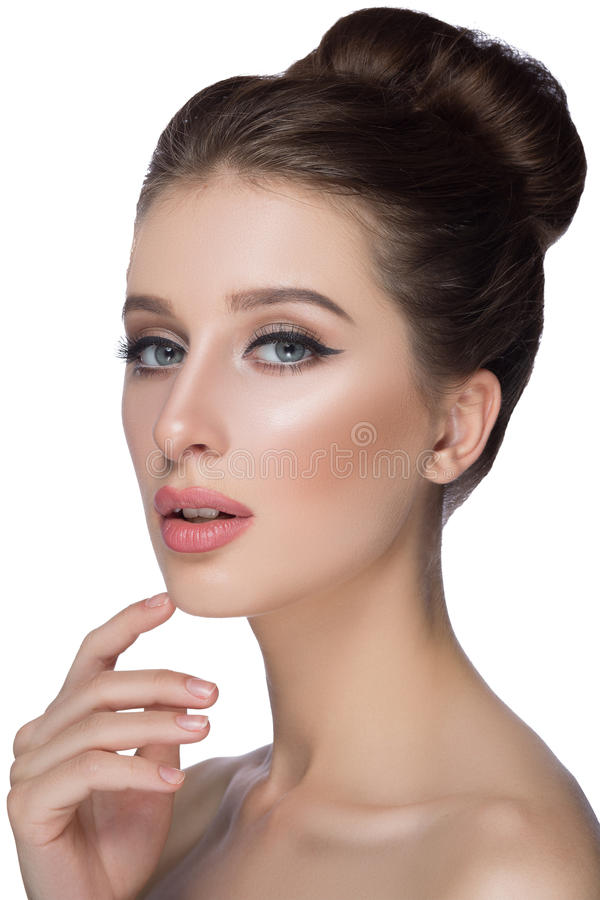 Perfect woman face portrait lips with fashion natural beige matte lipstick makeup. Beauty brunette model girl beautiful skin stock photos