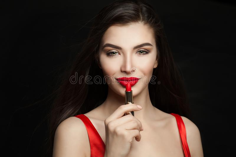 Perfect woman with red lips makeup and red lipstick stock photo