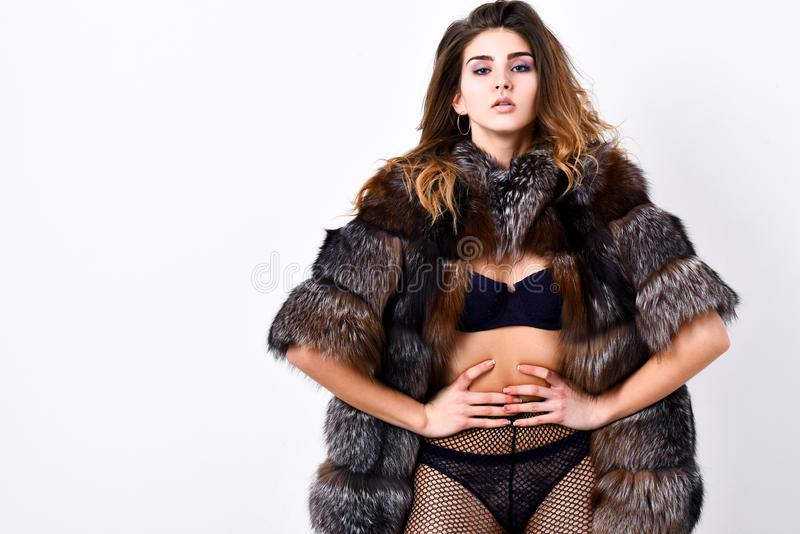 Perfect woman seductive appearance. Woman seductive model wear luxury fur and elite lingerie. Could be yours. Girl you. Dream about. Fashion lady enjoy her royalty free stock photos