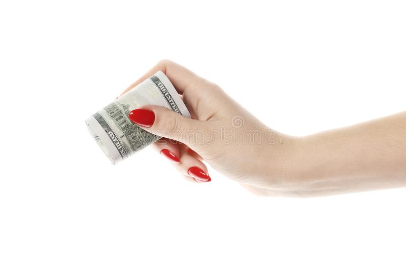 Perfect womens hands hold money isolated on white background. red manicure stock photography