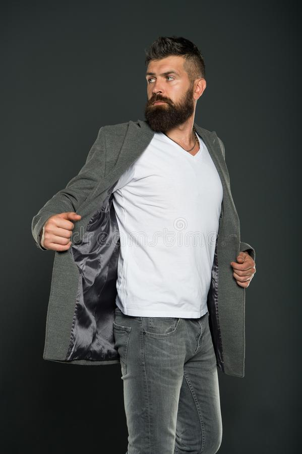 Perfect for work or weekends. Bearded man wear casual style. Hipster in casual outfit grey background. Casual business royalty free stock images