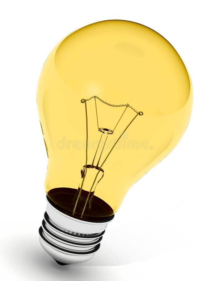 Perfect yellow light bulb stock photo