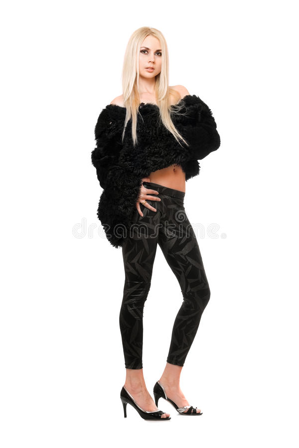 Perfect Young Blonde In Black Coat Royalty Free Stock Photography