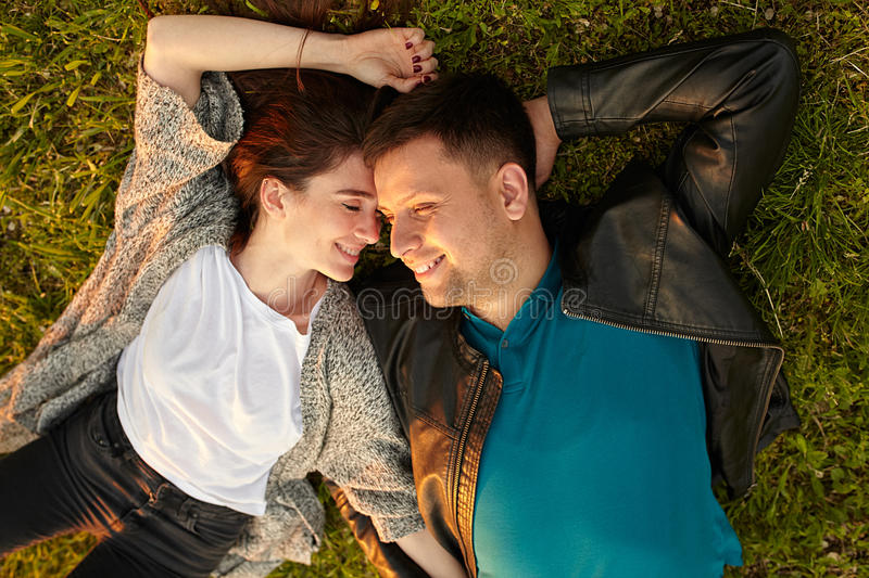 Perfect young couple fine portrait from above. royalty free stock photos