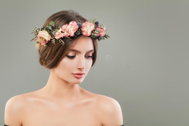 Perfect young woman portrait. Beautiful face stock image