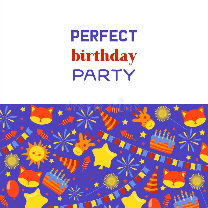 Perfecte de kentekensbanner van de verjaardagspartij, affiche vectorillustratie Ballons, begroeting, vos, heden, gift, giraf, cak royalty-vrije illustratie