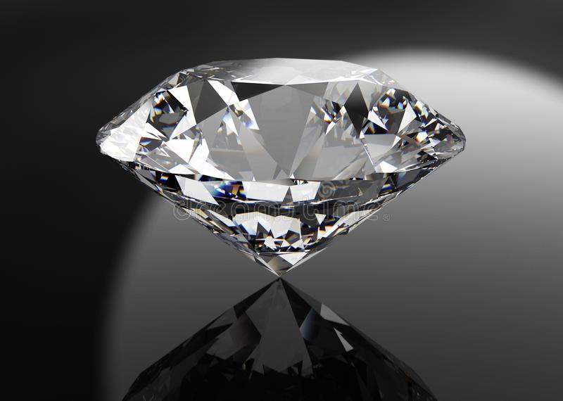 Perfecte die diamant op zwarte wordt geïsoleerd royalty-vrije illustratie