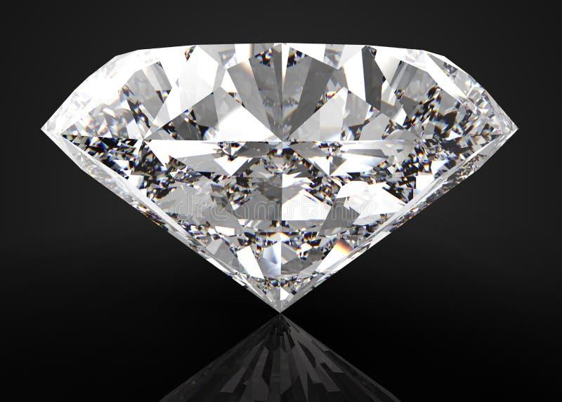 Perfecte die diamant op zwarte wordt geïsoleerd royalty-vrije stock afbeelding