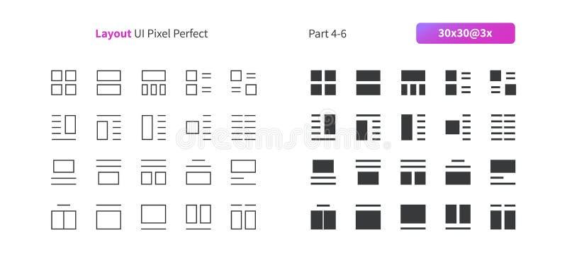 Perfecte goed-Bewerkte Vector Dunne Lijn en Stevige Pictogrammen 30 van het lay-outui Pixel 3x Net voor Webgrafiek en Apps royalty-vrije illustratie