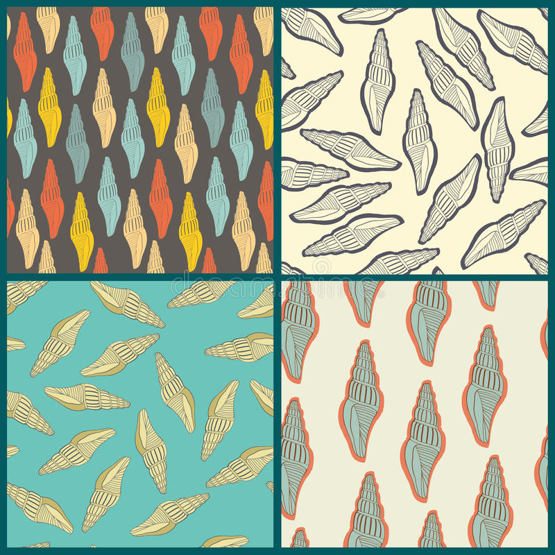 Perfecte inzameling van 4 naadloze patronen royalty-vrije illustratie