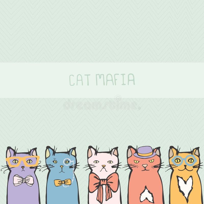 Perfecte kaart met hand getrokken leuke katjes stock illustratie