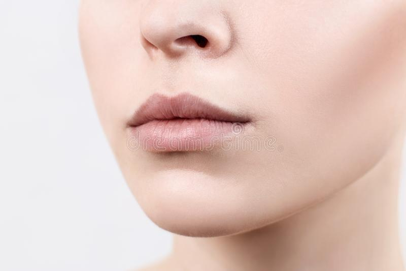 Perfecte natuurlijke lippen van jonge vrouw Close-up stock fotografie