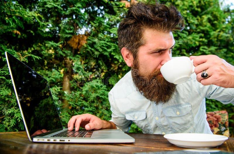 Perfecte overeenkomst Op groene achtergrond Succesvolle zakenman brutale gebaarde hipster bij koffiepauze Gelukkige mens die aan  stock fotografie