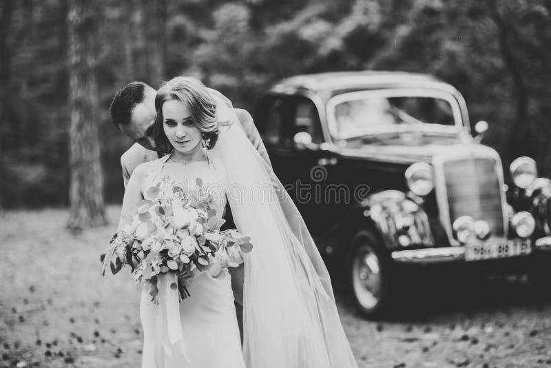 Perfecte paarbruid, bruidegom die en in hun huwelijksdag stellen kussen royalty-vrije stock fotografie