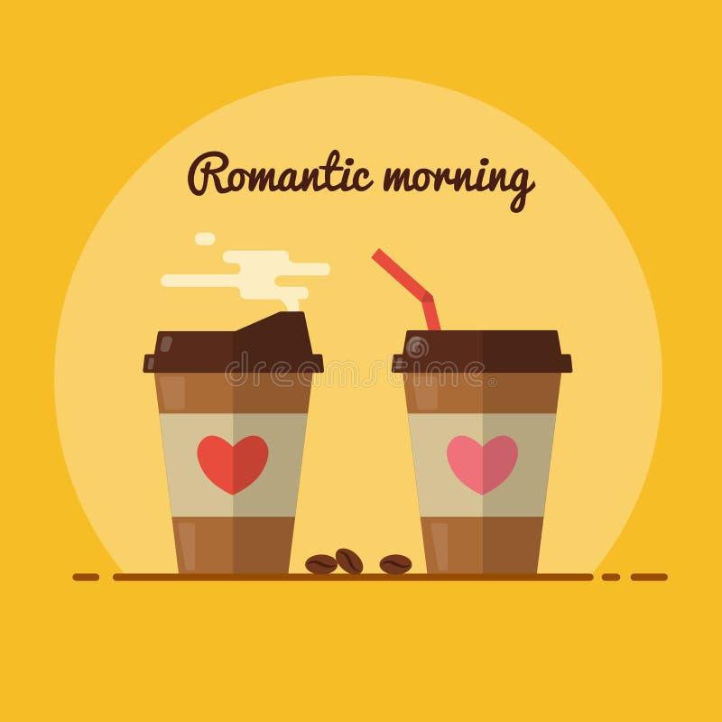 Perfecte romantische ochtend met koffie royalty-vrije illustratie