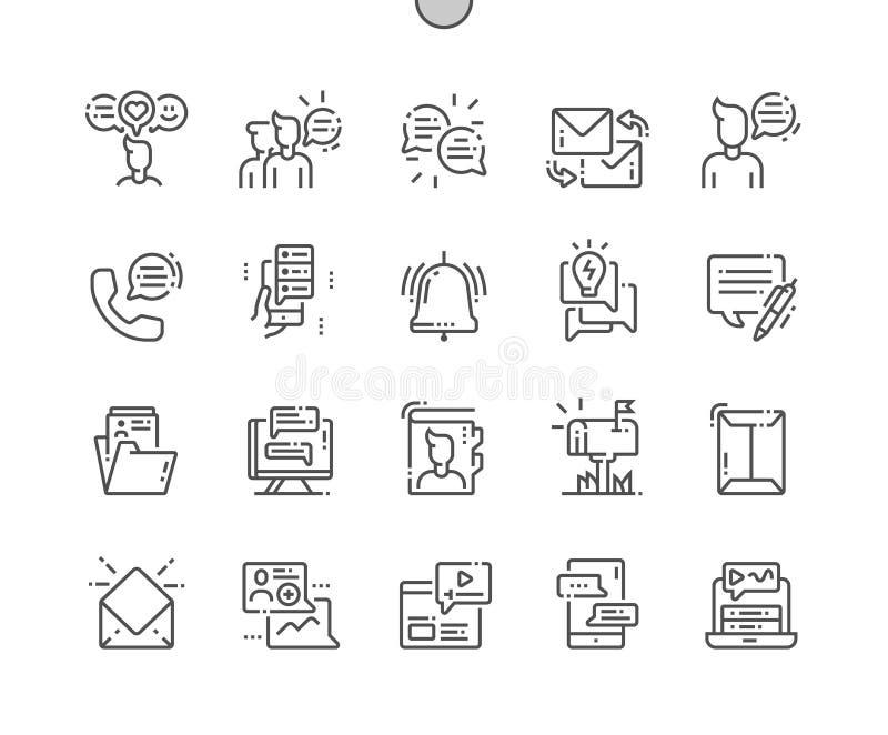 Perfecte Vector Dunne de Lijnpictogrammen van het dialoogactiva goed-Bewerkte Pixel stock illustratie