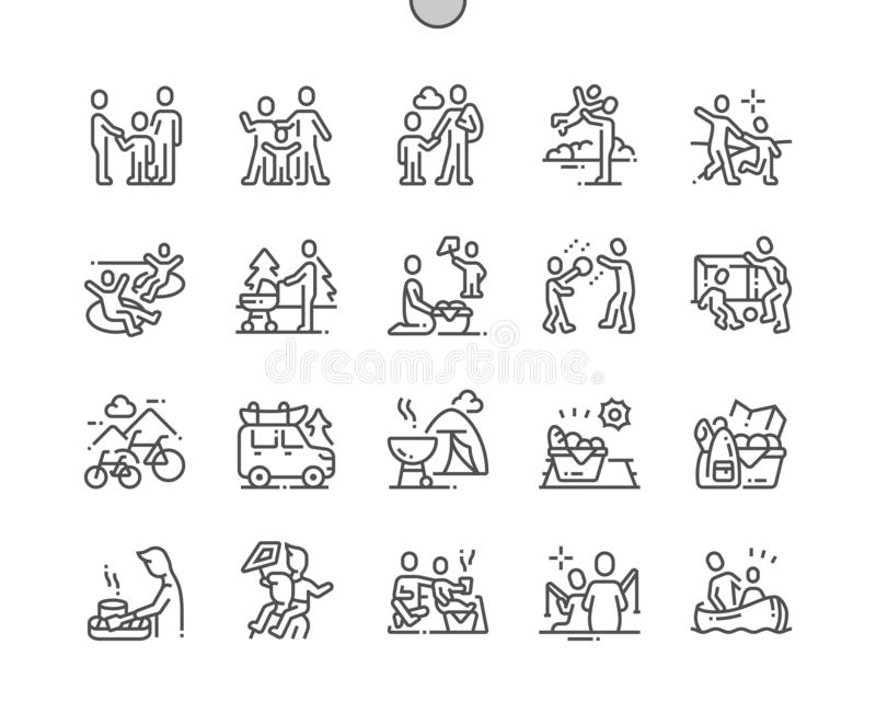 Perfecte Vector Dunne de Lijnpictogrammen van het familie openluchtrecreatie goed-Bewerkte Pixel royalty-vrije illustratie