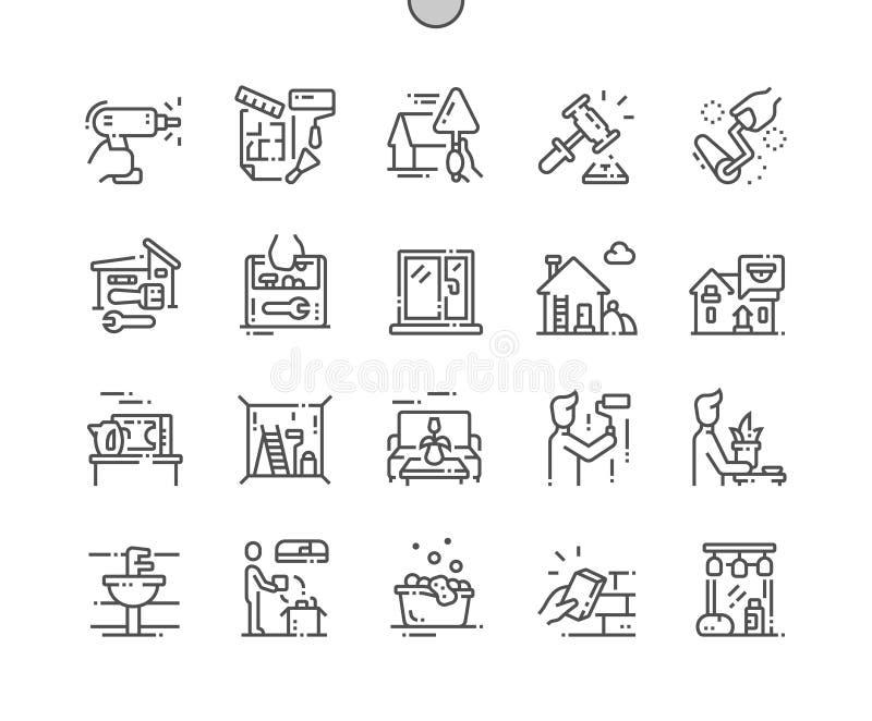 Perfecte Vector Dunne de Lijnpictogrammen 30 van het huisverbetering goed-Bewerkte Pixel 2x-Net voor Webgrafiek en Apps royalty-vrije illustratie