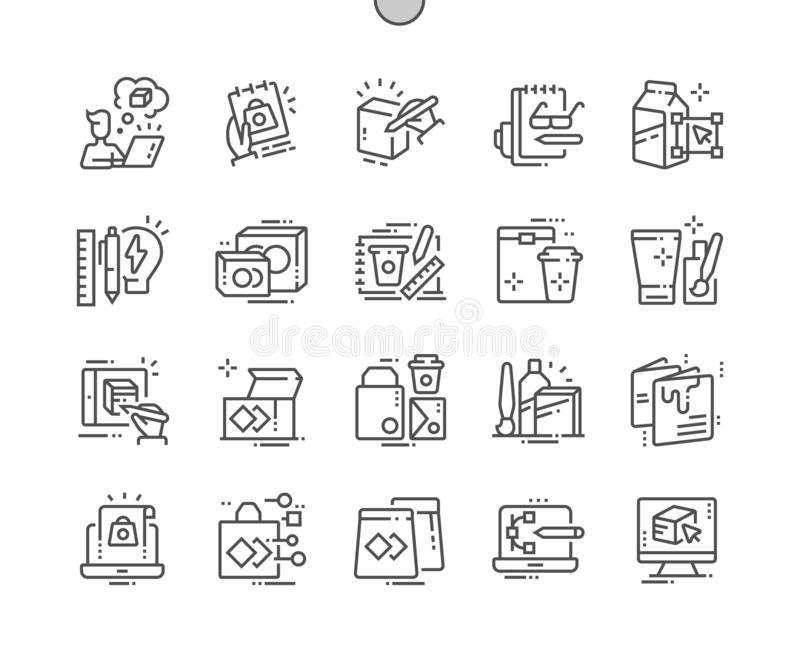 Perfecte Vector Dunne de Lijnpictogrammen 30 van het pakketontwerp goed-Bewerkte Pixel 2x Net voor Webgrafiek en Apps royalty-vrije illustratie