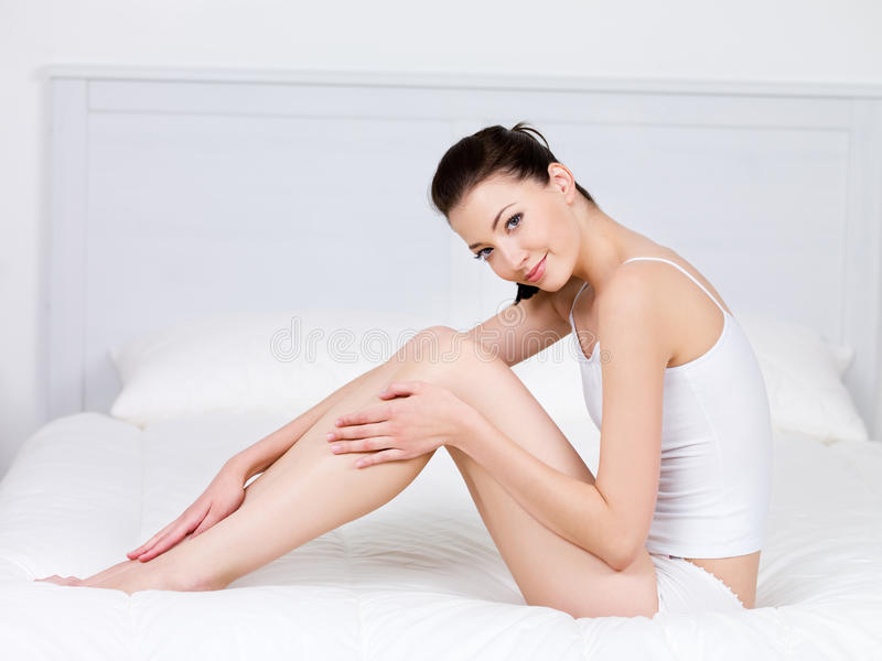 Perfection of woman with beautiful legs stock images
