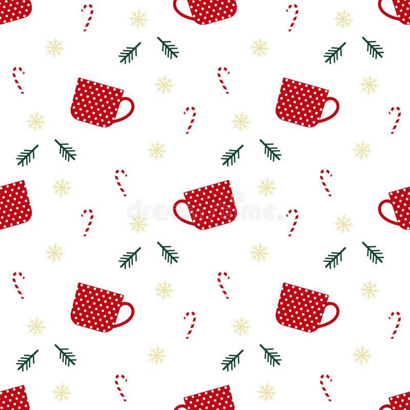 Perfectioneert het Kerstmis naadloze patroon met kop, Kerstmisstok, tak, sneeuwvlokken, voor verpakkend document, Kerstmisdecorat royalty-vrije illustratie