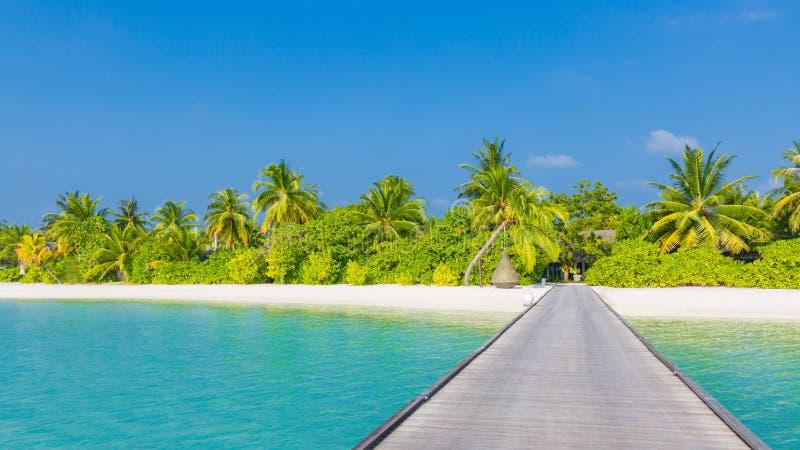 Perfectionnez la scène tranquille de plage, la lumière du soleil douce et la mer sans fin de sable et bleue blanche en tant que p image libre de droits