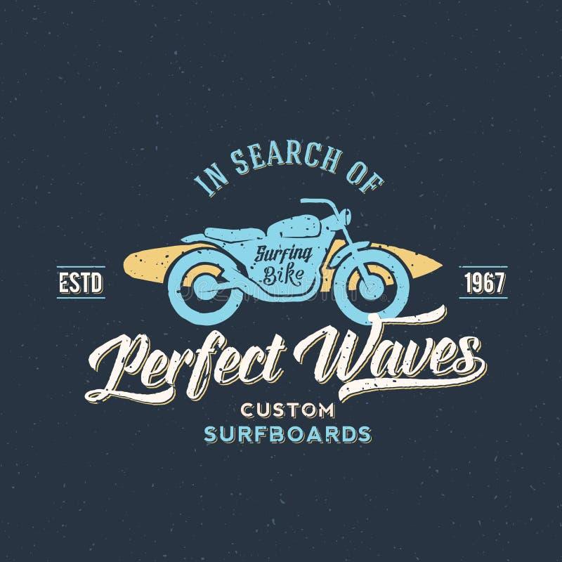 Perfectionnez le vélo de vagues avec l'abrégé sur planche de surf rétro illustration libre de droits