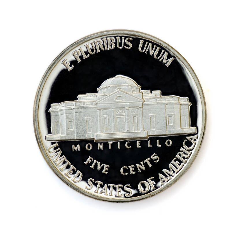 Perfectionnez uncirculated la pièce de monnaie de cinq cents photographie stock
