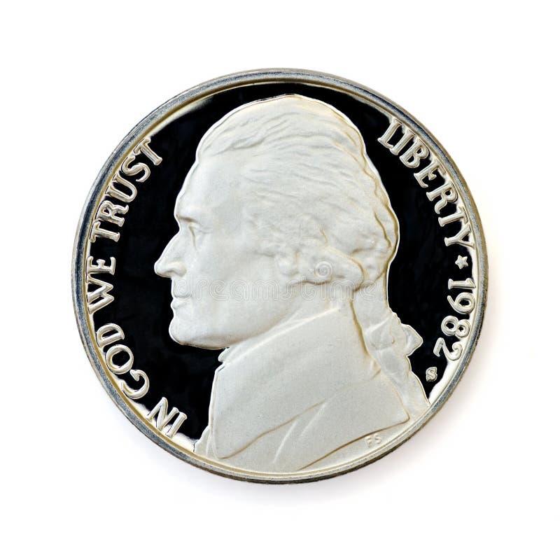 Perfectionnez uncirculated la pièce de monnaie de cinq cents image stock
