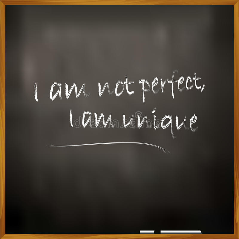 Perfectly Unique. Vector illustration of a quote I am not perfect, I am unique royalty free illustration