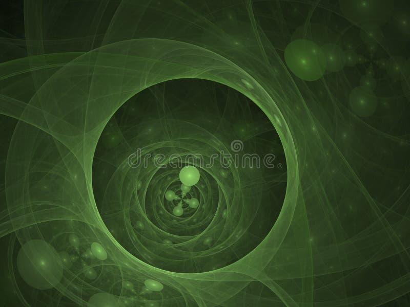 Perfekt abstrakt digital grön bakgrund Vortextunnel illustration 3d vektor illustrationer