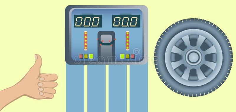 Perfekt gummihjul och jämvikt för hjuljustering stock illustrationer