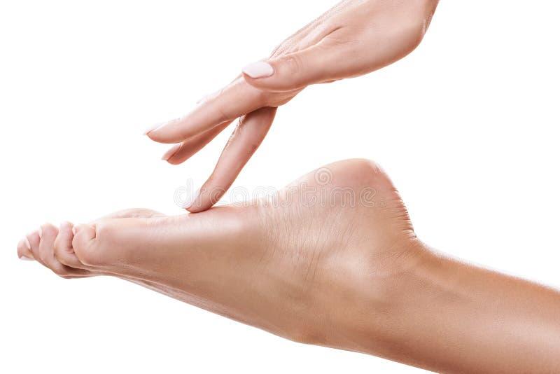 Perfekt kvinnlig fot Handen trycker på det eleganta benet royaltyfria bilder