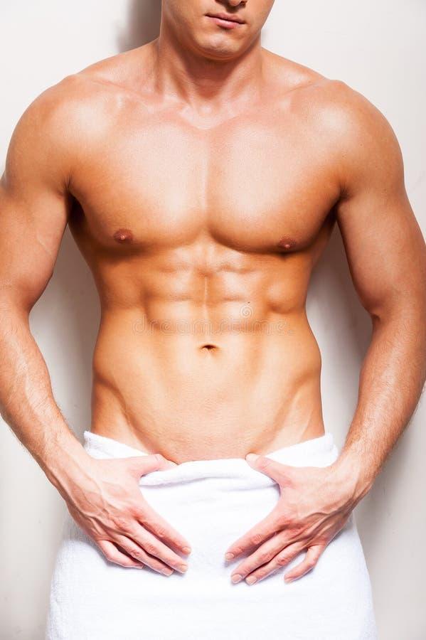Perfekt manlig kropp arkivbild