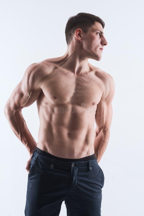 Perfekt manlig kropp-idrottsman nen fotografering för bildbyråer