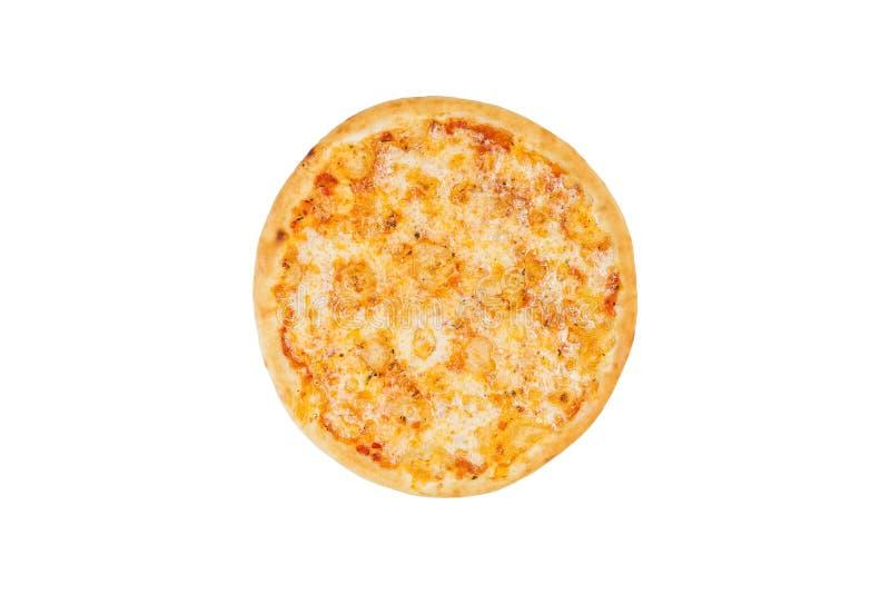 Perfekt pizzamargarita som isoleras på en vit bakgrund Top beskådar fotografering för bildbyråer