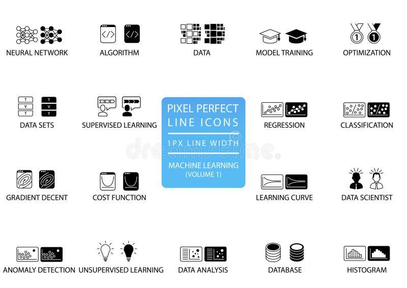 Perfekt tunn linje symboler och symboler för PIXEL för att lära för maskin/som djupt lär/konstgjord intelligens royaltyfri illustrationer