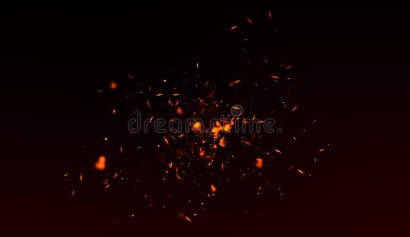 Perfekta gnistor för brandpartikelglöd på svart bakgrund Textursamkopieringar royaltyfri illustrationer