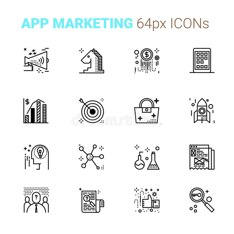Perfekta symboler för App-marknadsföringsPIXEL stock illustrationer