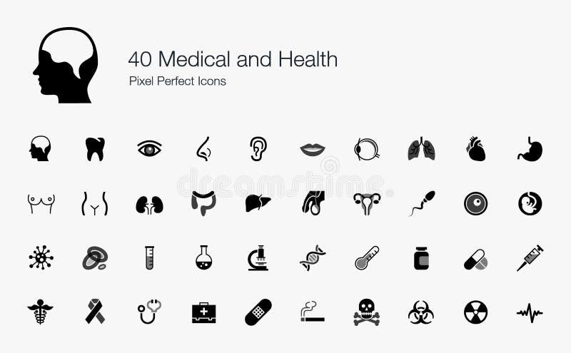 40 perfekta symboler för medicinskt och vård- PIXEL royaltyfri illustrationer