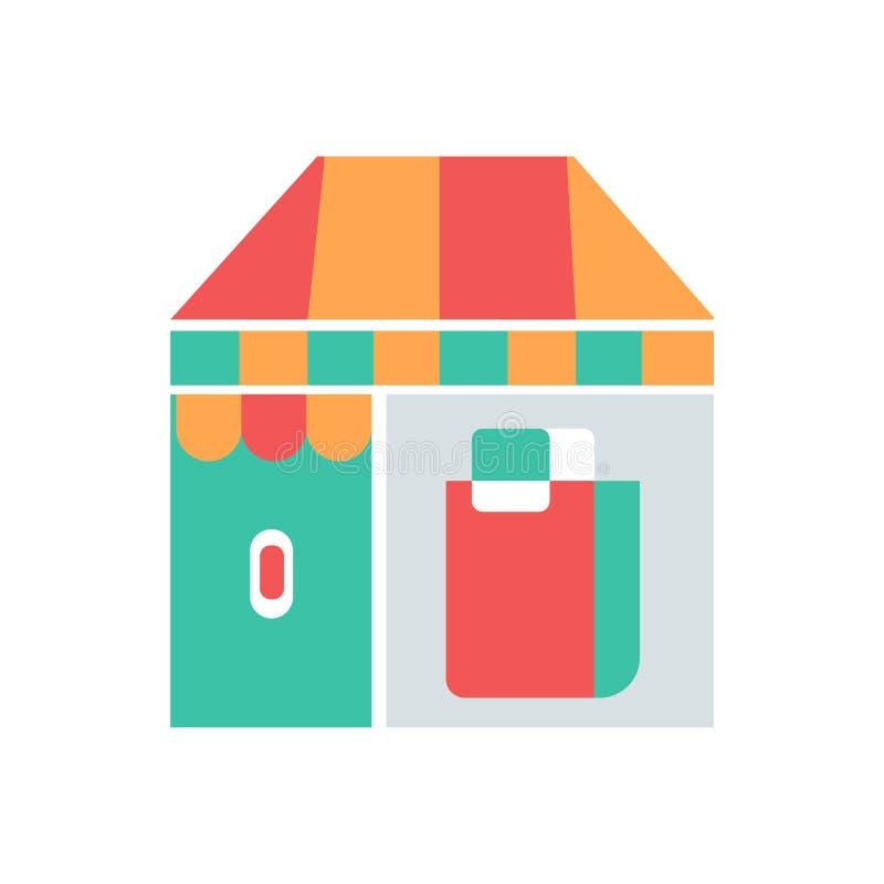 Perfekte Ikone des Geschäftes oder des Marktes Vektorgeschäft mit Ikonen-Illustrationsvektor der Einkaufstasche perfektem vektor abbildung