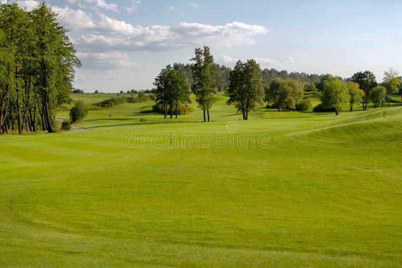 Perfekte Landschaft des Golfplatzes im Sommer stockfotos
