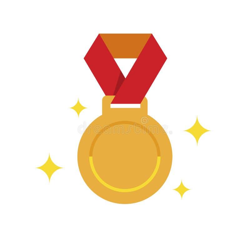 Perfekte Medaille des goldenen Pixels, goldene flache Medaille, 1. plase Medaille stock abbildung